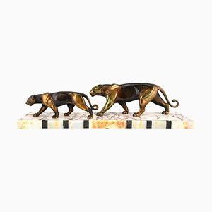 Art Deco French Panthers Sculpture from Alexandre Ouline, 1930s