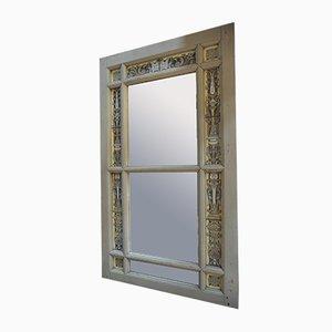 Antiker Spiegel aus Kiefernholz und emailliertem Glas, 1900er