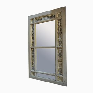 Antique Pinewood and Enameled Glass Mirror, 1900s