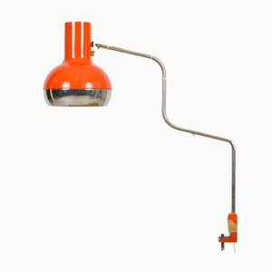 Large Vintage Adjustable Orange Chrome Table Lamp