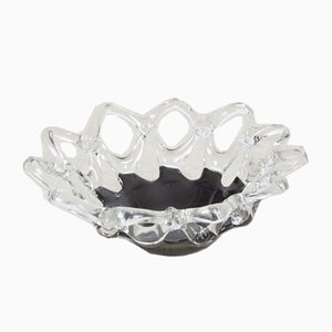 Vintage Black and Clear Glass Bowl