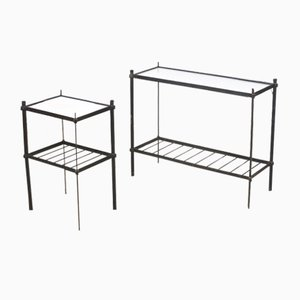 Mid-Century Iron Plant Stand with Glass Top, 1960s