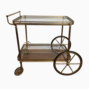 Neoclassical Style Golden Brass Bar Trolley with 2 Floors of Glass on Rubber-Tired Wheels, 1960s