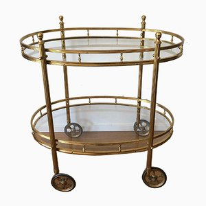 French Oval Brass Bar Cart, 1960s