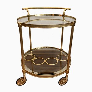 French Round Brass Bar Cart, 1960s