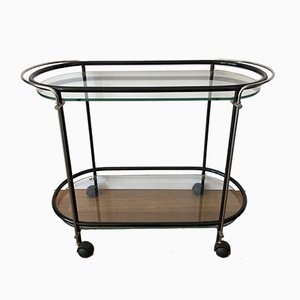 Black Trolley with Glass Trays on Wheels from Gallotti & Radice, 1960s
