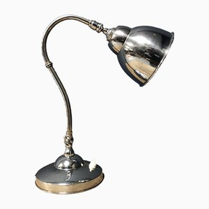 French Nickel-Plated Desk Lamp, 1930s