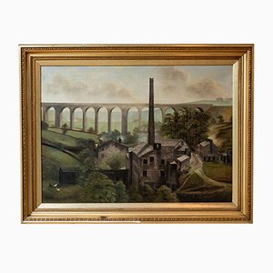 Vintage Denby Dale Viaduct Oil Painting by G. Hudson, 1920s
