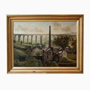 Vintage Denby Dale Viadukt Ölgemälde von G. Hudson, 1920er