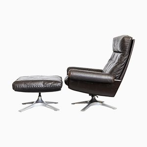 Cow Leather DS-31 Lounge Chair & Ottoman from de Sede, 1970s, Set of 2