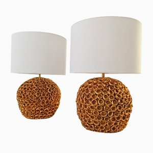 Mid-Century Ceramic Pineapple Table Lamps, Set of 2