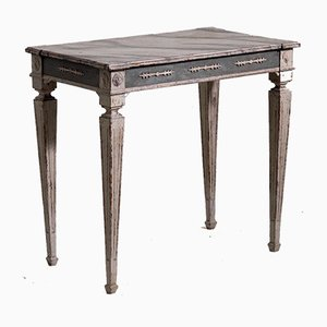 Antique Carved Freestanding Console Table with Faux Marble Painted Top, 1900s