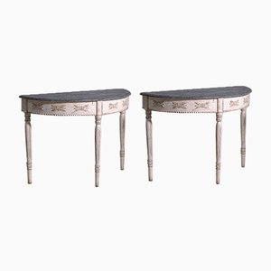 Gustavian Carved Demi-Lune Tables with Faux Marble Painted Top, Set of 2