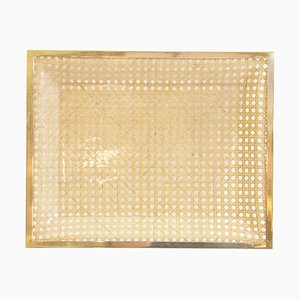 Vintage Lucite and Rattan Square Tray, 1970s