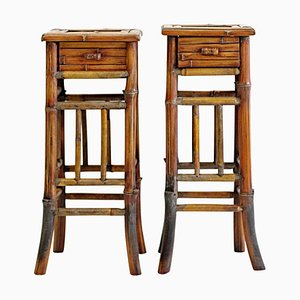 Vintage Nightstands in Bamboo, 1970s, Set of 2