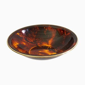 Large Bowl in Faux Tortoise Lucite and Brass, Italy, 1970s