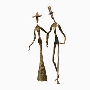 Bronze Holding Hands Sculpture, 1970s