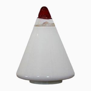 Opalglas Kegel Lampe in Rot & Weiß von Giusto Toso für Leucos, 1930er