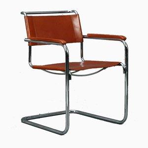 Cognacfarbener S34 Chair mit Ledersitz von Mart Stam für Thonet, 1990er