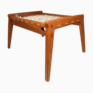 Mid-Century Oak Hunting Ottoman, Germany, 1960s