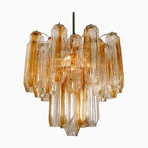 Clear and Orange Amber Angled Glass Tube Chandelier by J.T. Kalmar, 1970s