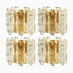 Ice Glass Wall Sconces with Brass Tone by J.T. Kalmar, Austria, 1960s, Set of 6