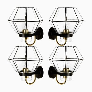 Iron and Clear Glass Wall Light by Glashütte Limburg, 1960s