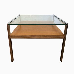 Coffee or Side Table with Glass Plate and Shelf in Veneered Wood, 1970s