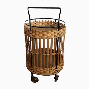 Mid-Century Serving Trolley in Basket Rattan, 1960s