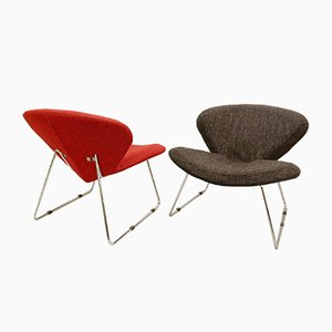 Italian Red and Grey Lounge Chairs, 1970s, Set of 2