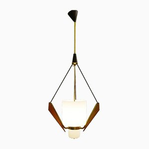 Italian Opaline Glass, Wood & Brass Ceiling Lamp, 1960s