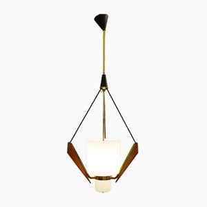 Italienische Opalglas, Holz & Messing Deckenlampe, 1960er