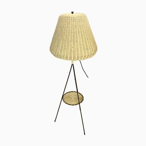 Vintage Italian Tripod Floor Lamp with Wicker Bell Lampshade