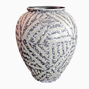 Deutsche Vintage Keramik Vase in Weiß, Gelb & Grau von Carstens Tönnieshof, 1960er