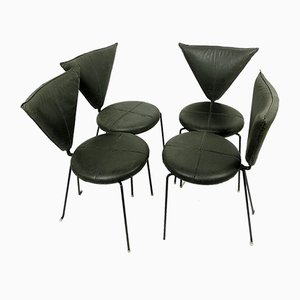 Black Leather and Painted Steel Chairs from Helmut Lubke & Co, 1990s, Set of 4