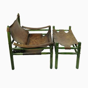 Hungarian Safari Armchair and Ottoman, 1970s, Set of 2