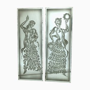 Art Deco Mirrors, 1930s, Set of 2