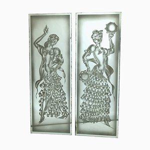 Art Deco Mirrors, 1930s, Set of 2