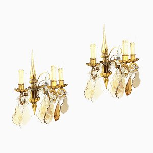 Italian Gold Leaf Metal and Faceted Crystal Sconces with Stars and Obelisks Decor, 1930s, Set of 2