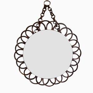 Mid-Century Rattan Sunburst Mirror