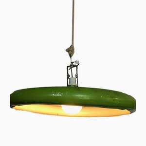 Vintage Green Ceiling Lamp, 1970s