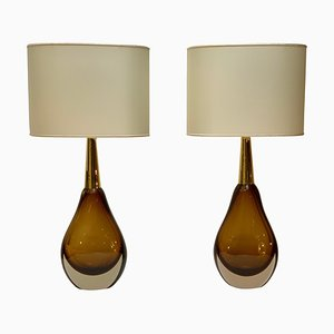 Mid-Century Sommerso Murano Glass Table Lamps from Seguso Vetri d'Arte, 1958, Set of 2