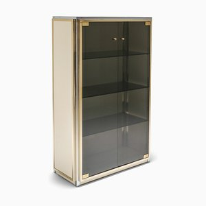 Brass and Chrome Display Cabinet with Glass Doors from Renato Zevi, 1970s