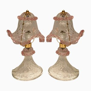 Vintage Murano Glass Table Lamps, 1980s, Set of 2