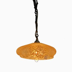 Hand Blown Orange Glass Pendant Lamp, 1950s