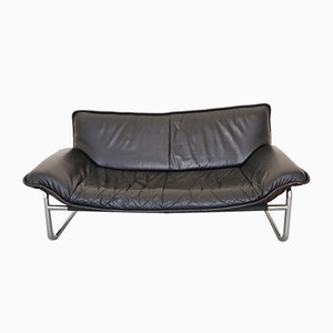 Vintage Leather and Chrome Sofa by Rodney Kinsman for OMK, 1970s