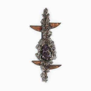 Brutalist Amethyst Inlay Wall Sculpture from Marc D'haenens, 1970s