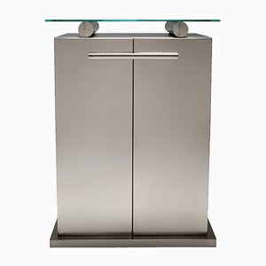 Stainless Steel Cabinet with Floating Glass Top in the Style of Maison Jansen, 1980s