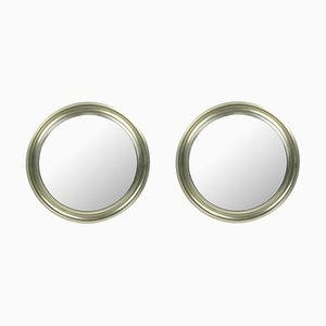 Small Nickel Plated Brass and Black Metal Mirrors by Sergio Mazza for Artemide, 1970s, Set of 2