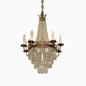 Art Nouveau Italian Crystal and Brass Pendant Lamp, 1930s